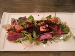 Beet Salad - Grilled Baby Beets, Whipped Goat Cheese, Sunflower Sprouts, Candied Walnuts, Creamy Horseradish Dressing, Olive Soil