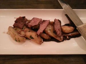 NY Strip Steak - Black Garlic Gelée, Duck Fat Potatoes, Smoked Sea Salt