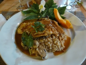 Catch of the day from the Altiplanico hotel with mushroom risotto