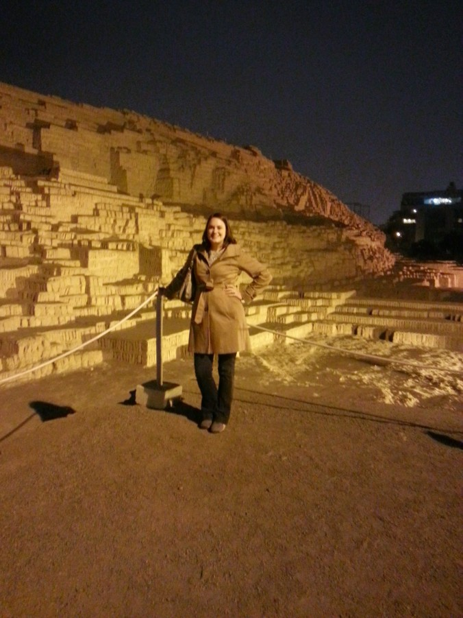 Overlooking the Huaca Pucllana during dinner!