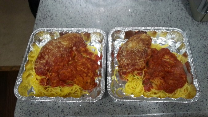 Two Chicken Parmesan dinners, ready to be frozen for our trip :)