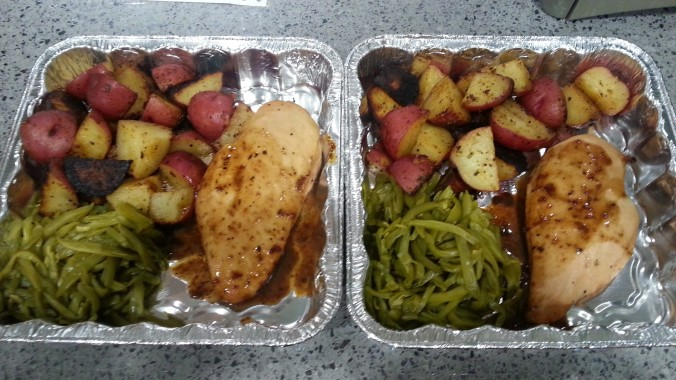 Finished meal: Balsamic Chicken, Roasted Red Potatoes, and French Cut Green Beans