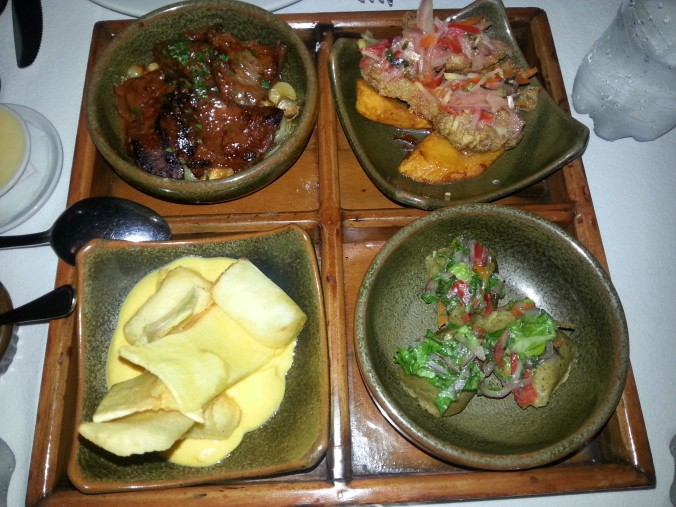 Appetizer sampler at the Huaca Pucllana Restaurant - the guinea pig is in the upper right corner!