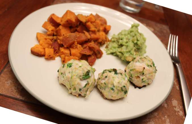 Dinner: Chicken and zucchini poppers with guacamole and sautéed sweet potatoes.
