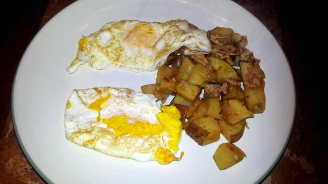 Breakfast: Sautéed ground turkey and potato hash, with 2 eggs over easy.